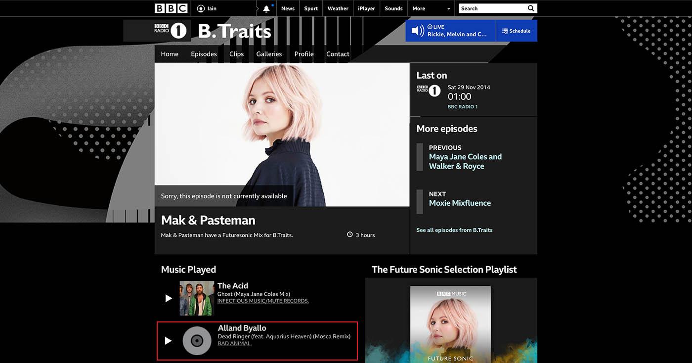 B.Traits @ BBC Radio 1
